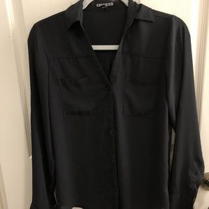 Black Express Long Sleeve Button Up Blouse